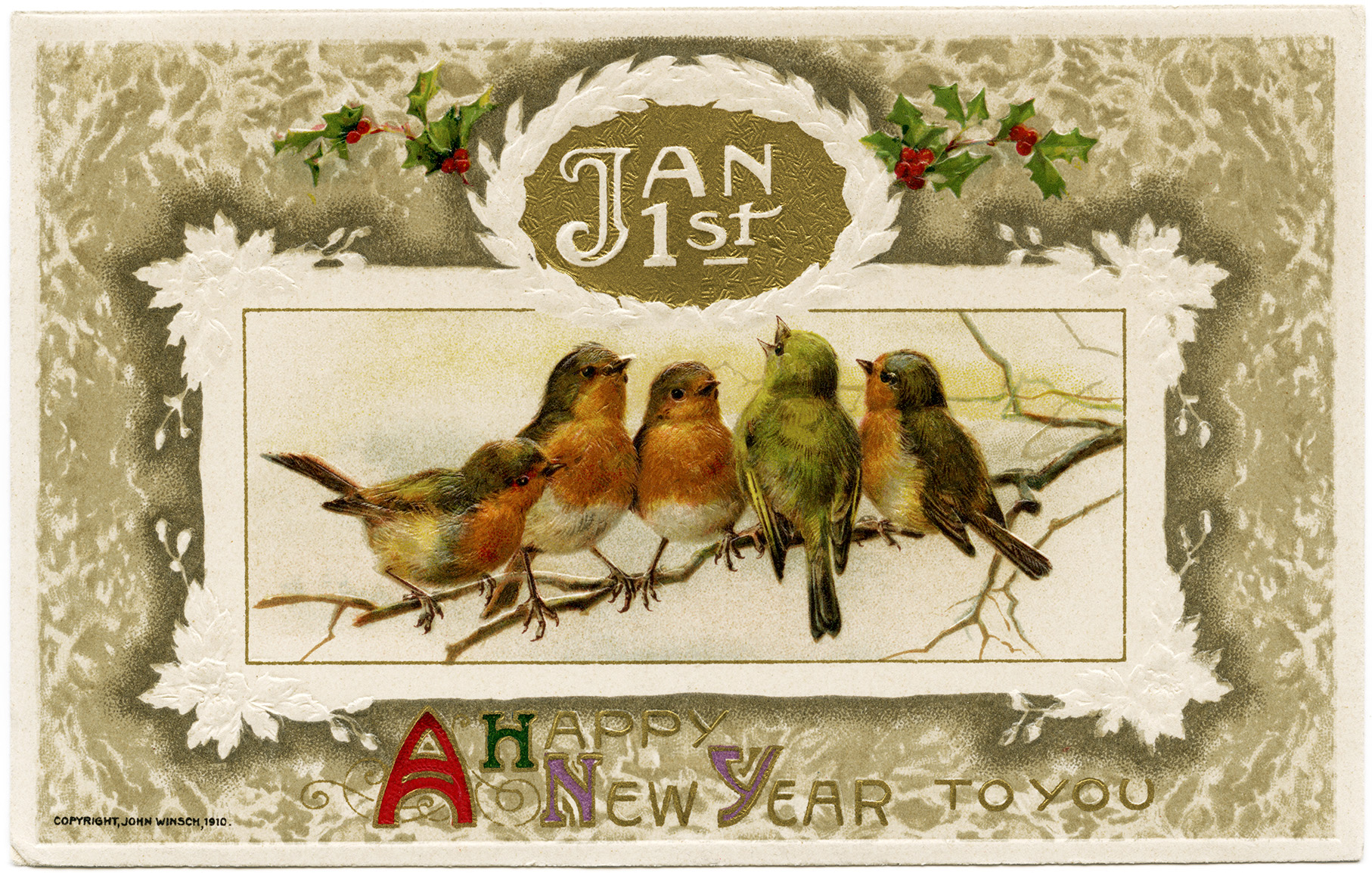 John Winsch Birds New Year Postcard Old Design Shop Blog