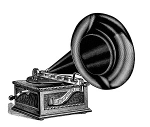talking machine clip art, vintage gramophone image, black and white clipart, antique record player illustration, free vintage music graphics