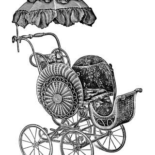 Baby Strollers ~ Free Vintage Clip Art