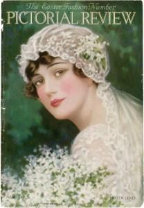 vintage bride image, c allan gilbert art, pictorial review april 1915, old fashioned wedding graphic, antique bridal illustration