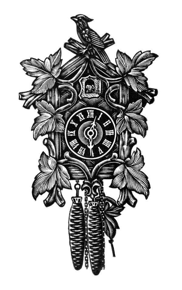 Cuckoo Clock Clip Art Black and White