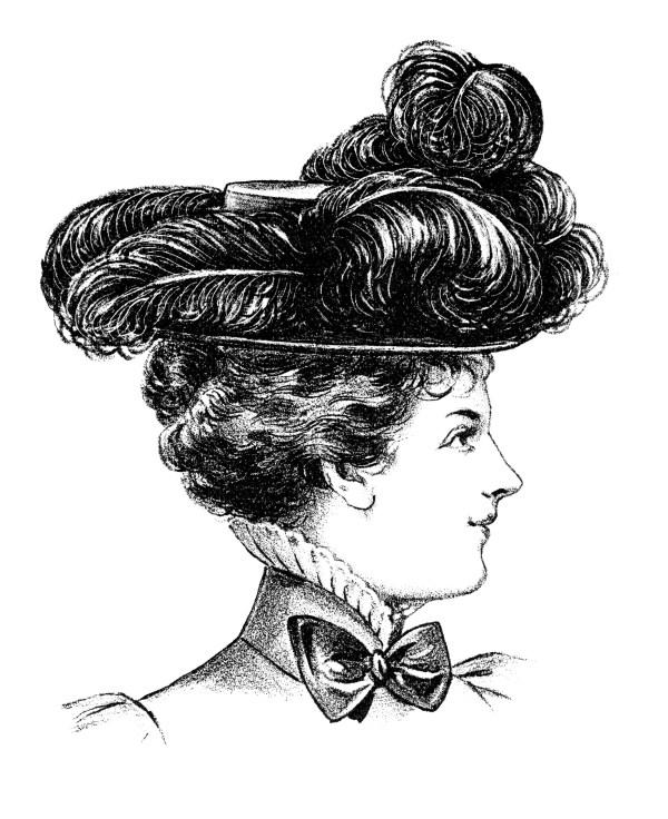 victorian ladies' felt hat clip