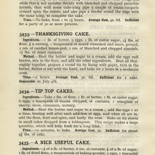 Free Vintage Image ~ Aged Cookbook Page Thanksgiving Cake