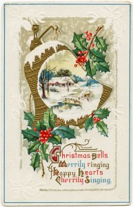 vintage christmas postcard, antique christmas image, old fashioned holiday card, free christmas clipart, holly berries country scene bell