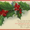 vintage christmas postcard, old fashioned christmas card, holly berries clipart, antique holiday postcard graphic, stecher christmas postcard