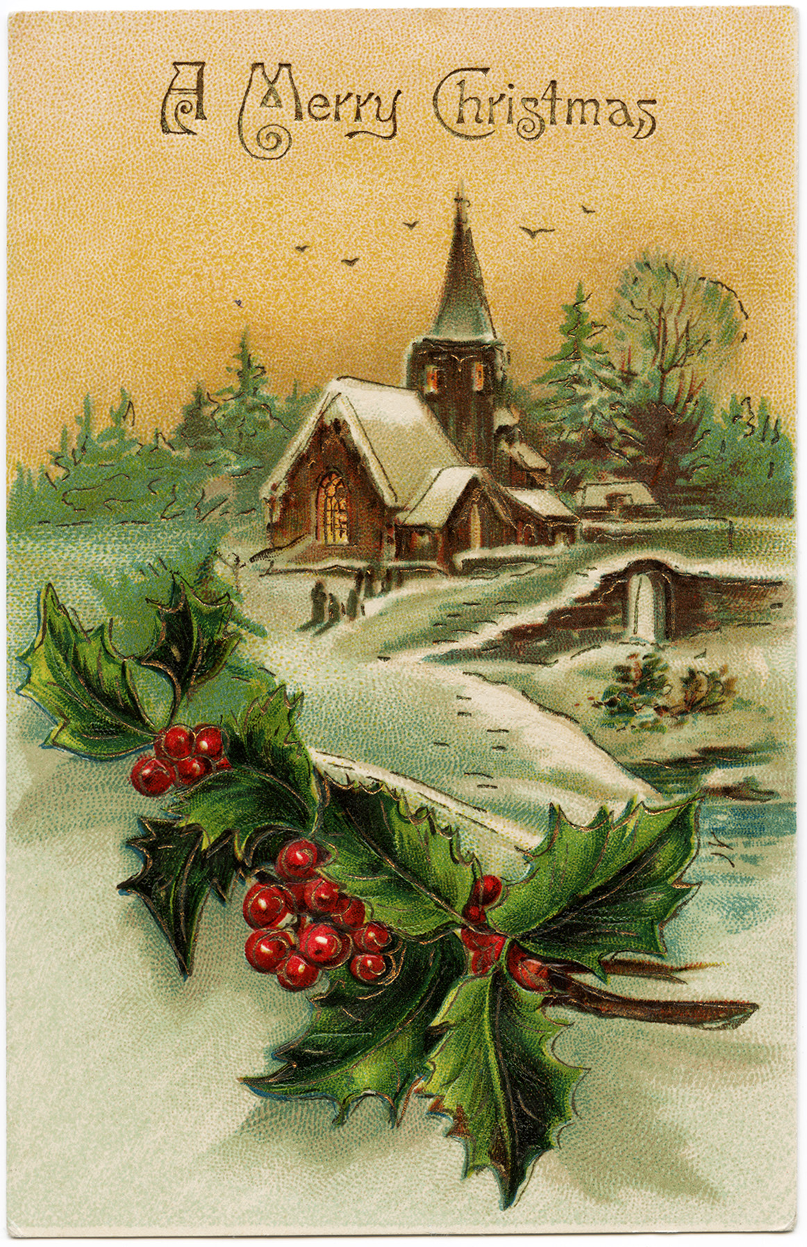Snow Covered Country Church Scene Old Design Shop Blog