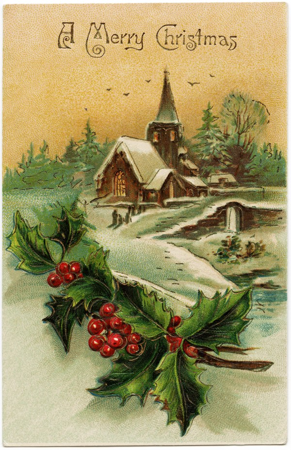 snow-covered country church scene