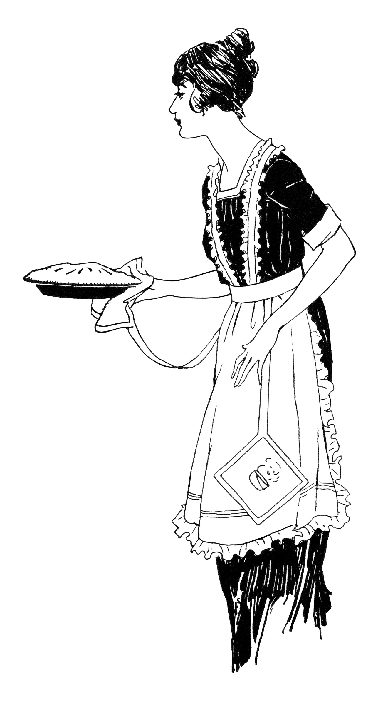 Woman Serving Pie Free Vintage Clip Art