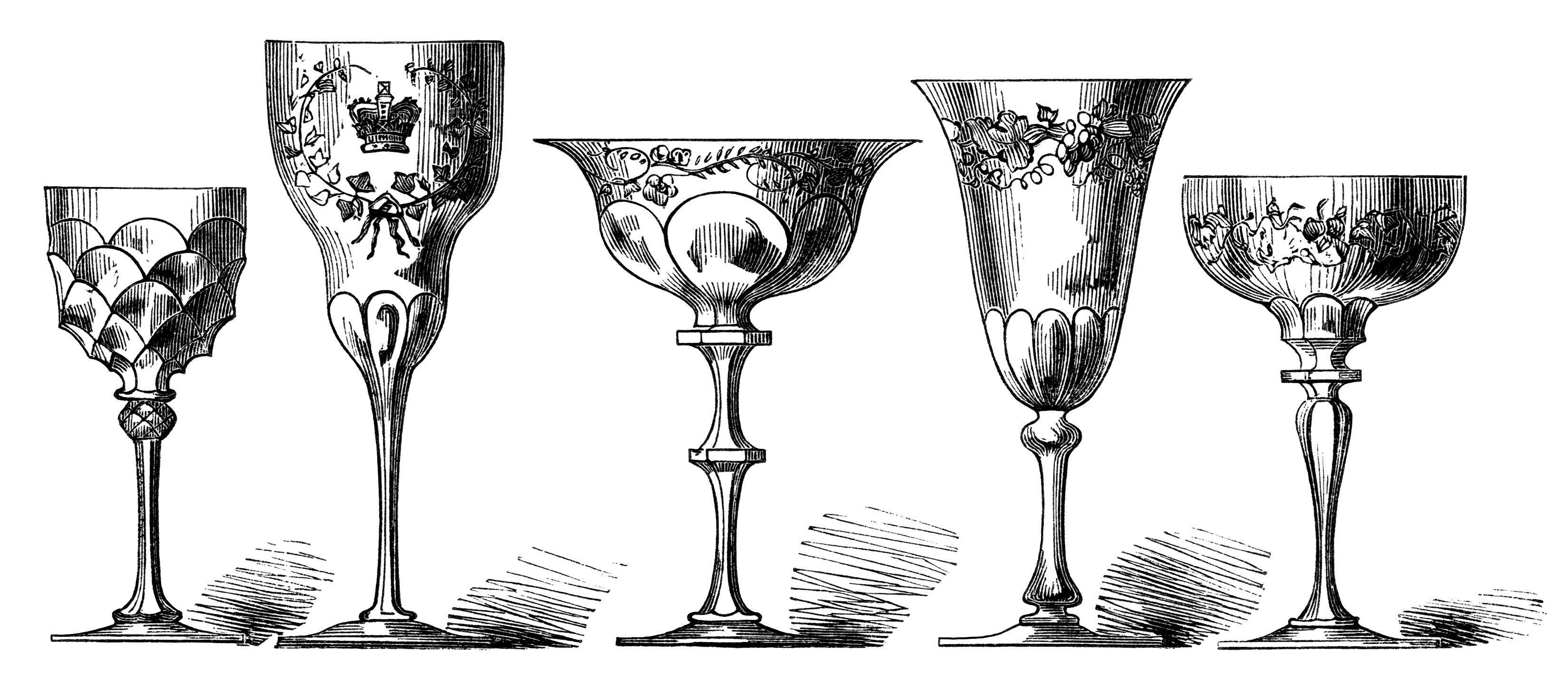 Antique Wine Glasses Engraving Free Digital Clip Art Image