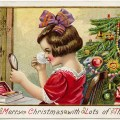 vintage christmas postcard, girl applying makeup, stecher postcard, antique christmas graphic, old fashioned holiday clipart