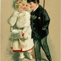 victorian children clipart, vintage christmas postcard, old fashioned holiday graphic, free printable kids image, vintage people clip art