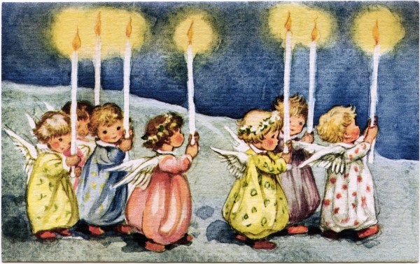 Little Angels Carrying Candles Vintage Greeting Card