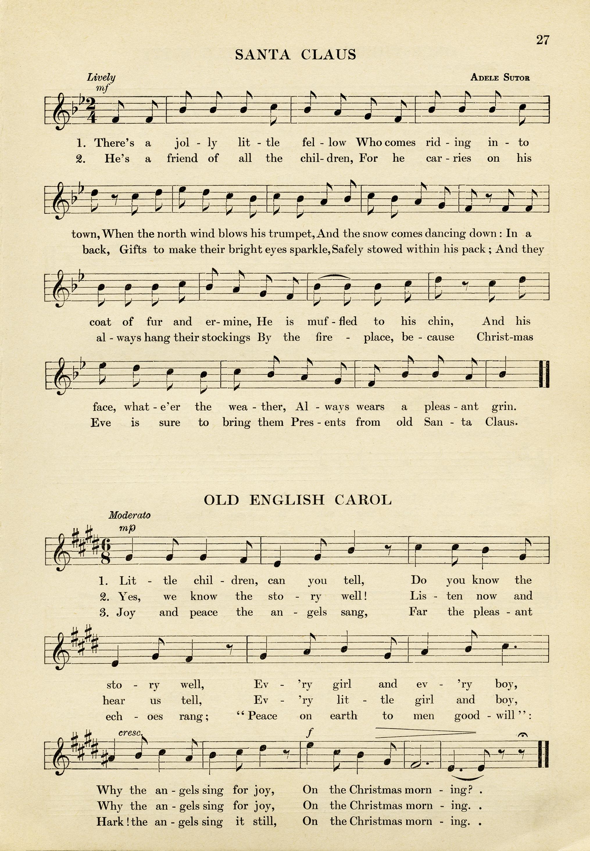 Vintage Christmas Sheet Music Free Download