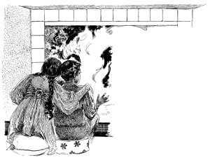 fire poem,laura e richards,albertine randall wheelan,vintage children clipart,free black and white clip art,boy girl fireplace image