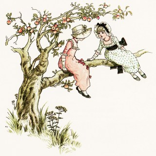 Kate Greenaway In An Apple Tree ~ Free Vintage Storybook Illustration