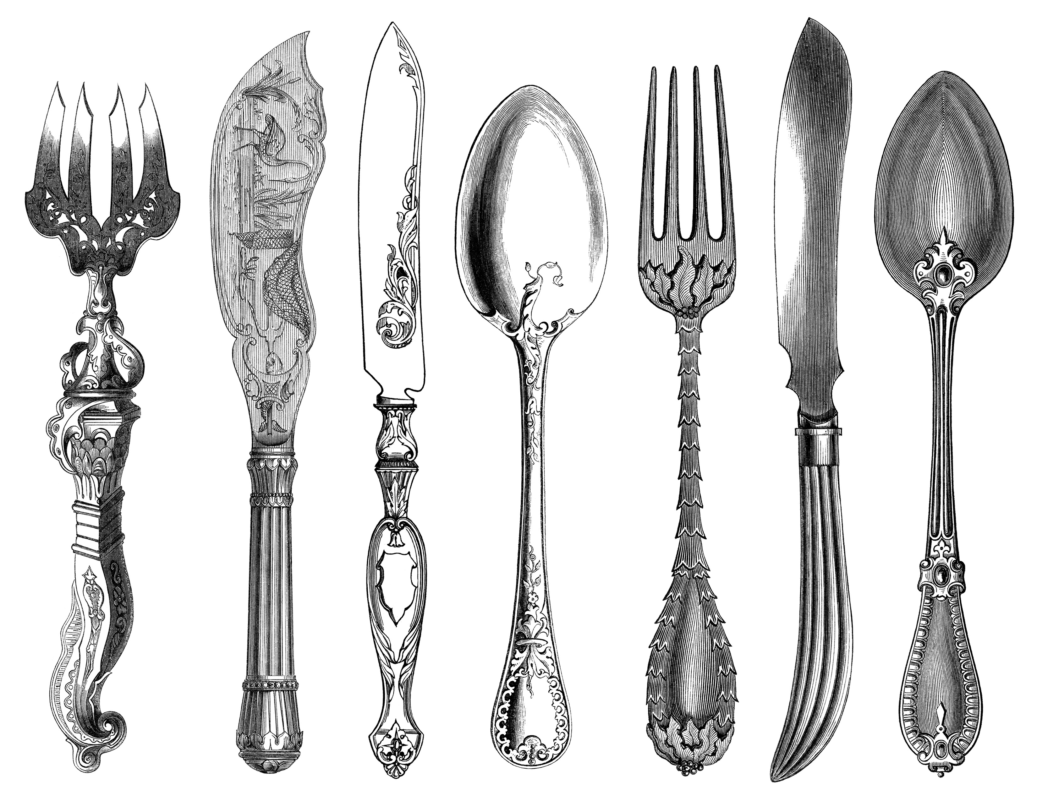 Antique Cutlery Engravings Free Clip Art