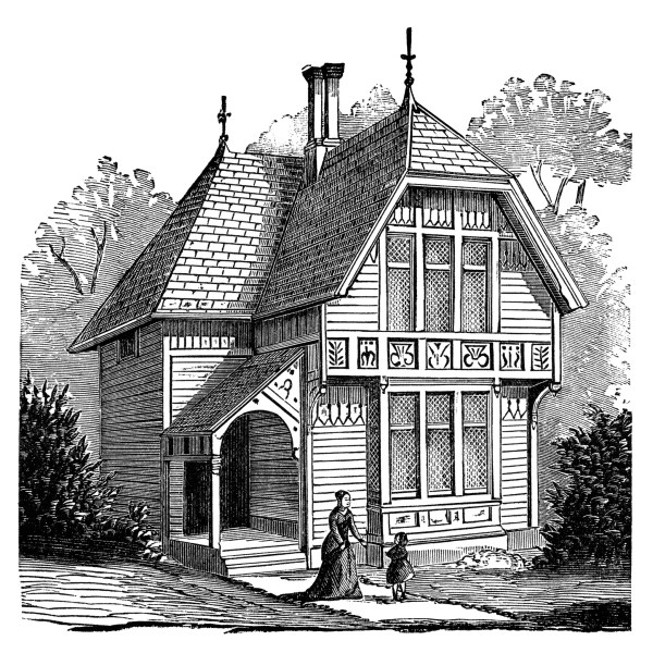 Two Story Victorian Cottage Free Clip Art