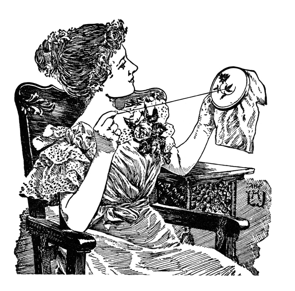 medium resolution of  vintage sewing clipart black and white clip art lady doing embroidery work brainerd