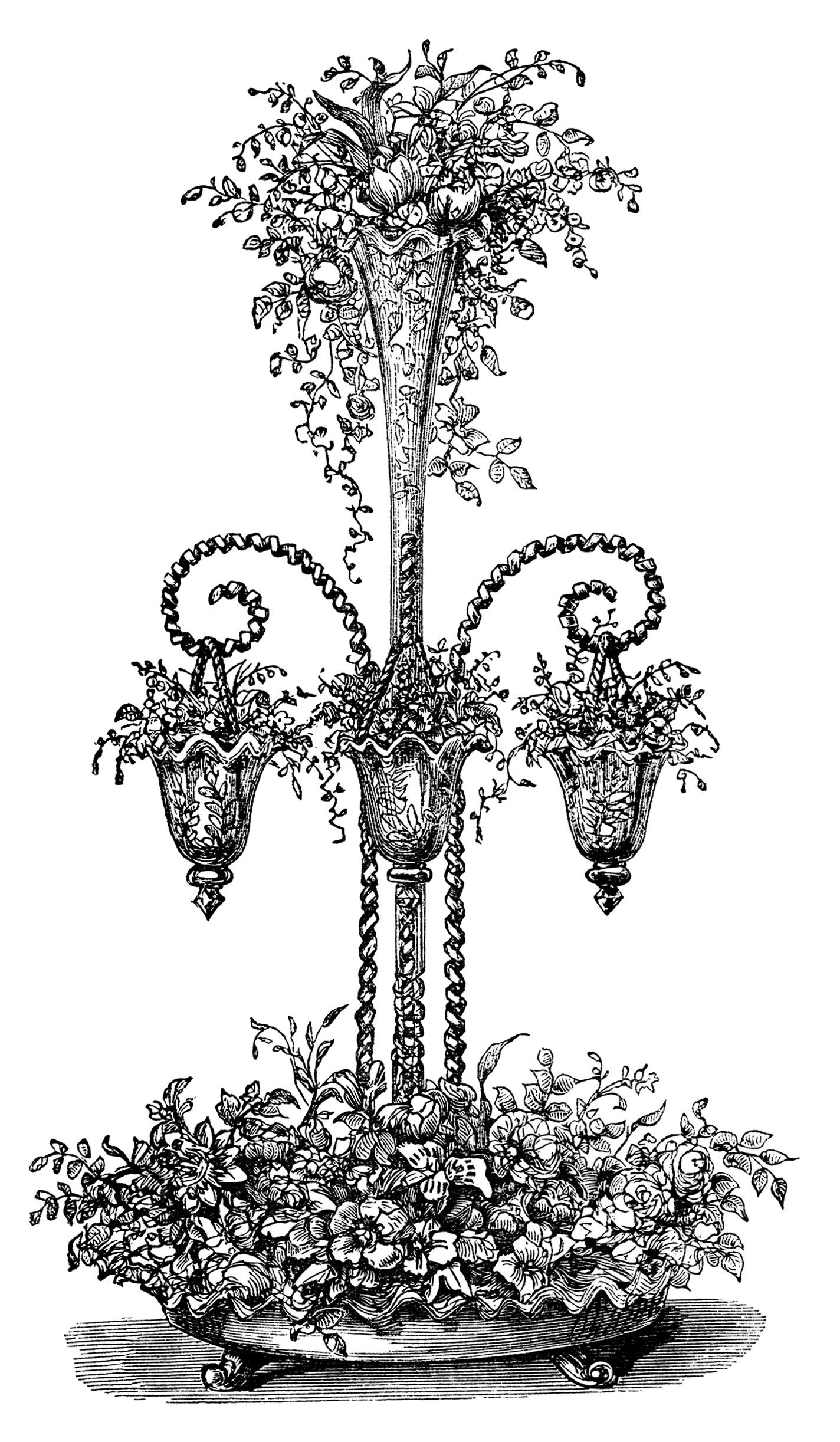 Beautiful Flower Arrangements ~ Free Vintage Clip Art