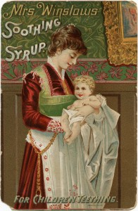mrs winslow soothing syrup, victorian trade card, free vintage ephemera, 1888 calendar, mother holding baby printable