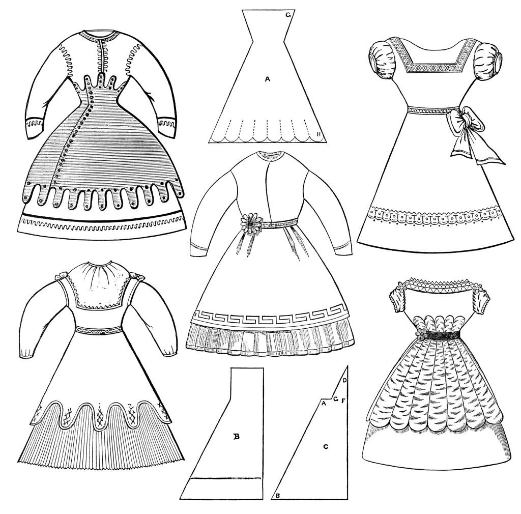 Victorian Girls Dresses Free Clip Art