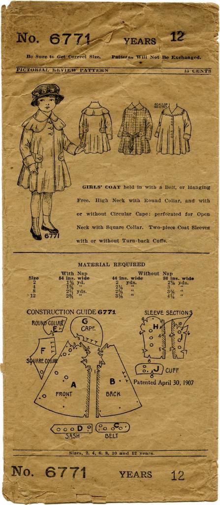 Vintage Girls Coat Pattern Envelope Free Digital