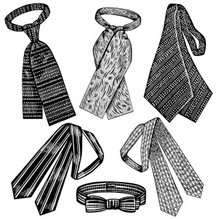 Victorian Men's Neckties ~ Free Clip Art