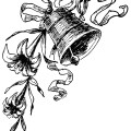 black and white clip art, vintage wedding clipart, antique magazine ad, wedding bell image, victorian wedding printable