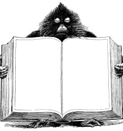 baboon holding book unique vintage clipart black and white graphics open book blank [ 2067 x 1904 Pixel ]