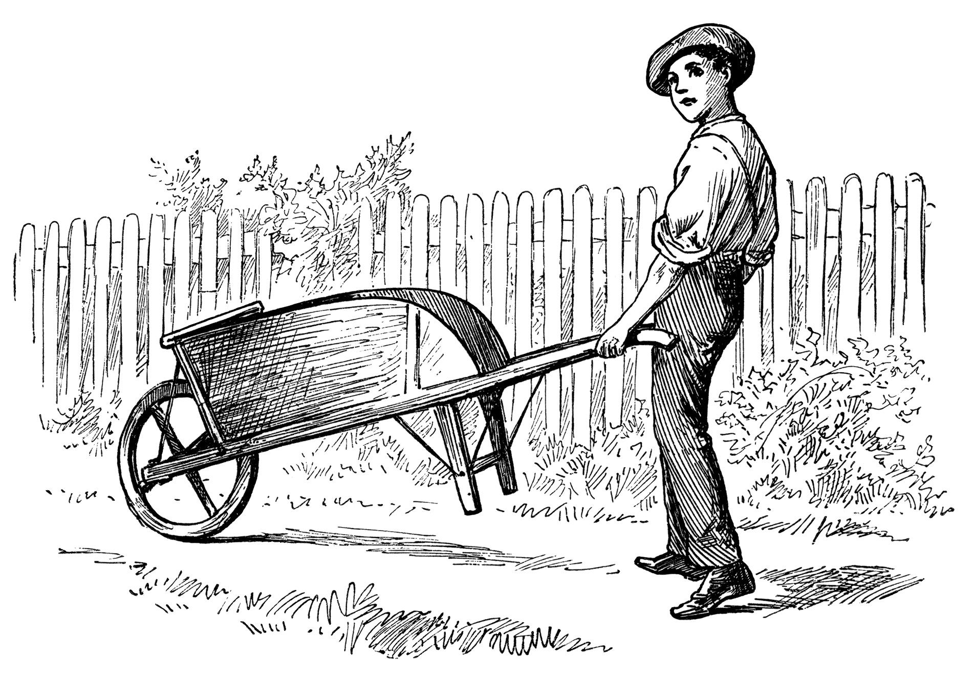 Victorian Boy Pushing Wheelbarrow Vintage Garden