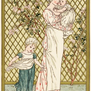 Mother and Children by Kate Greenaway ~ Free Victorian Storybook Illustration