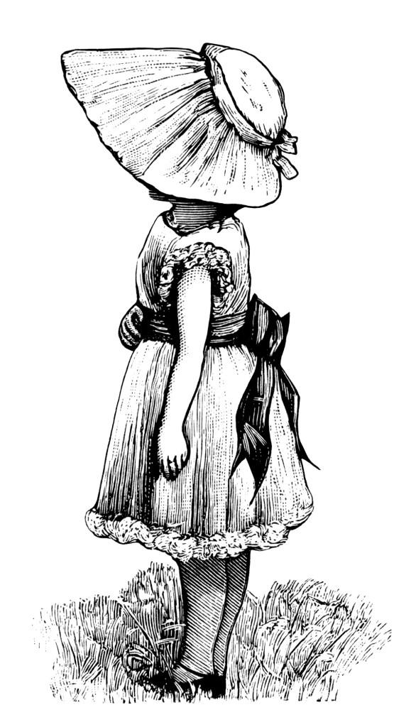 Victorian Girl with Large Bonnet ~ Free Vintage Clip Art