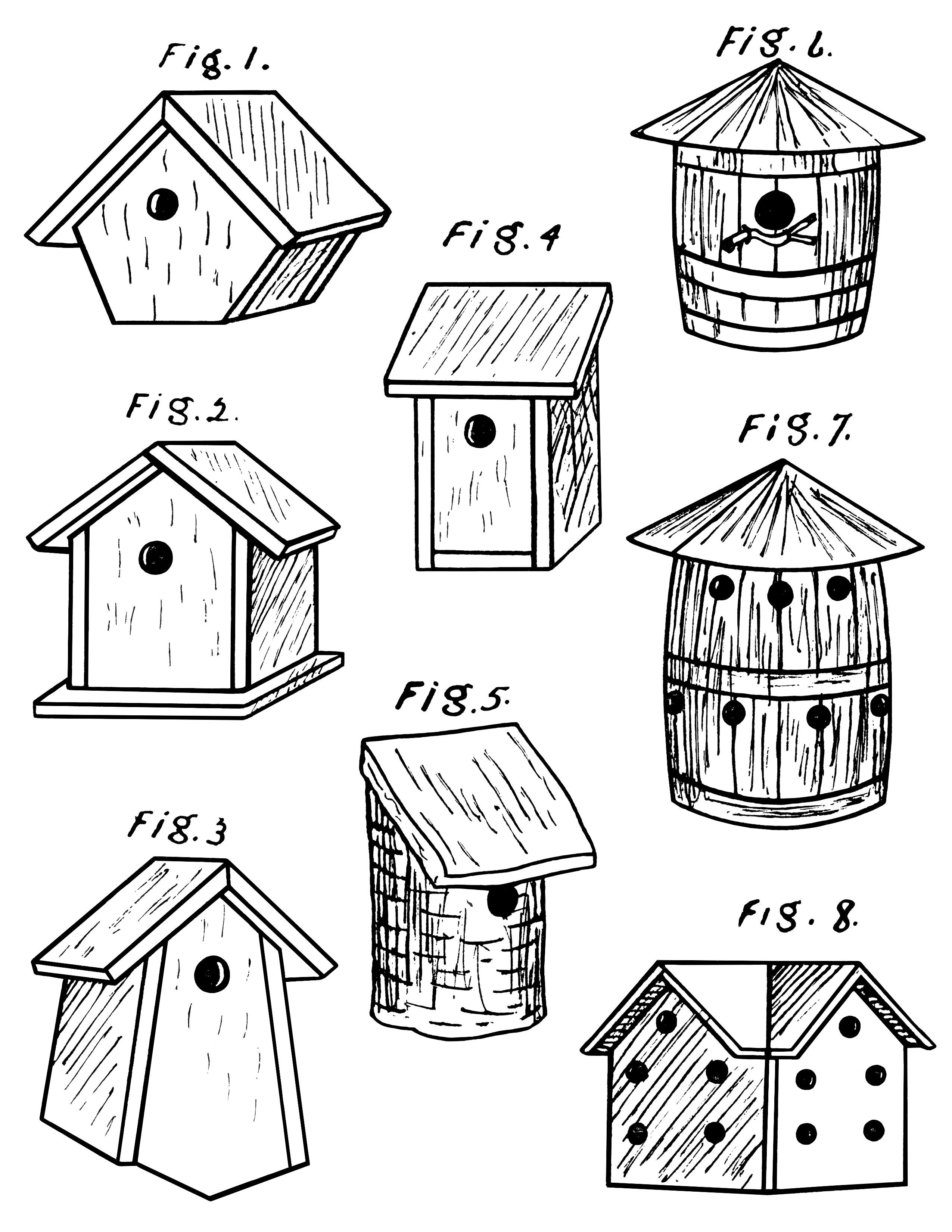 Birdhouses Free Vintage Clip Art