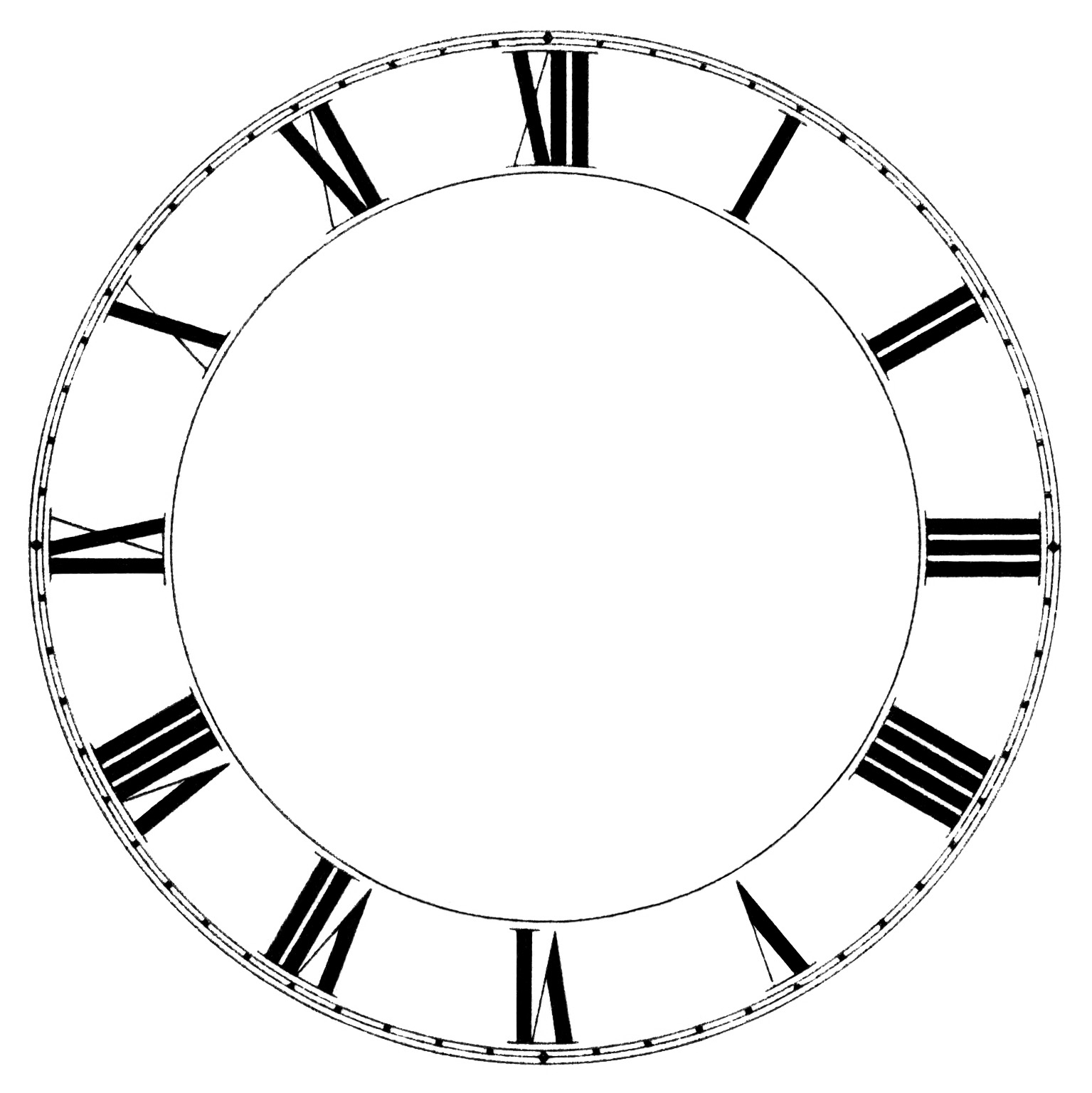 Roman Numeral Clock Free Vintage Clip Art
