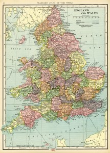 England and Wales map, vintage map download, antique map, C. S. Hammond, history geography England Wales