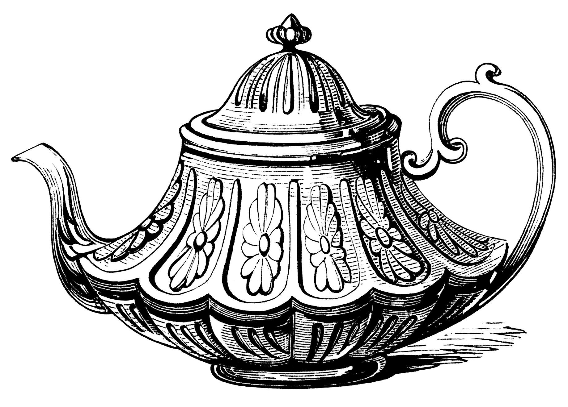Victorian Tea Pot Free Clip Art