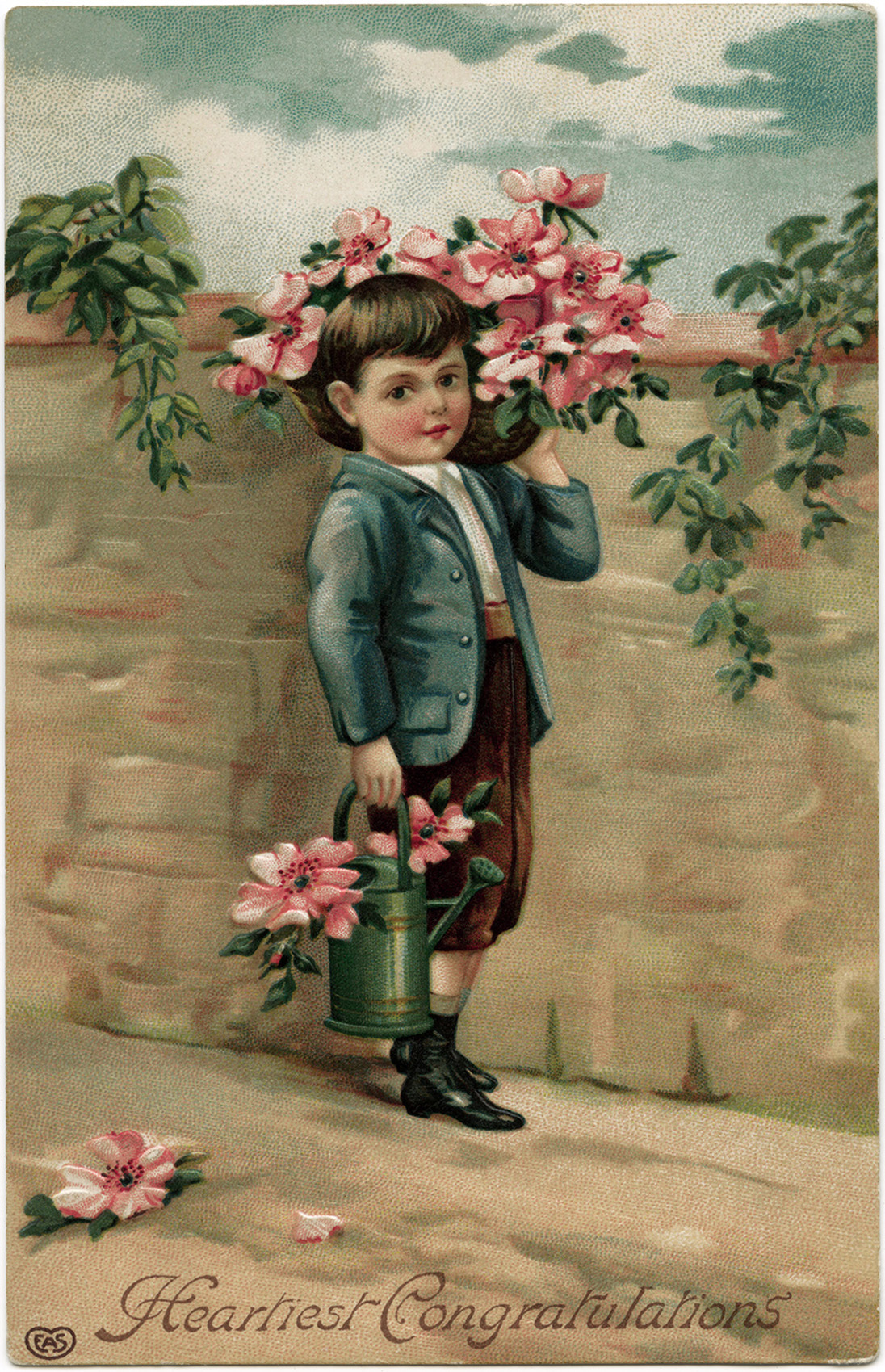 Victorian Boy Carrying Flowers Free Vintage Image Old