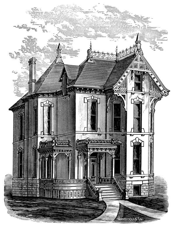 Elegant Victorian Spooky House Free Clip Art
