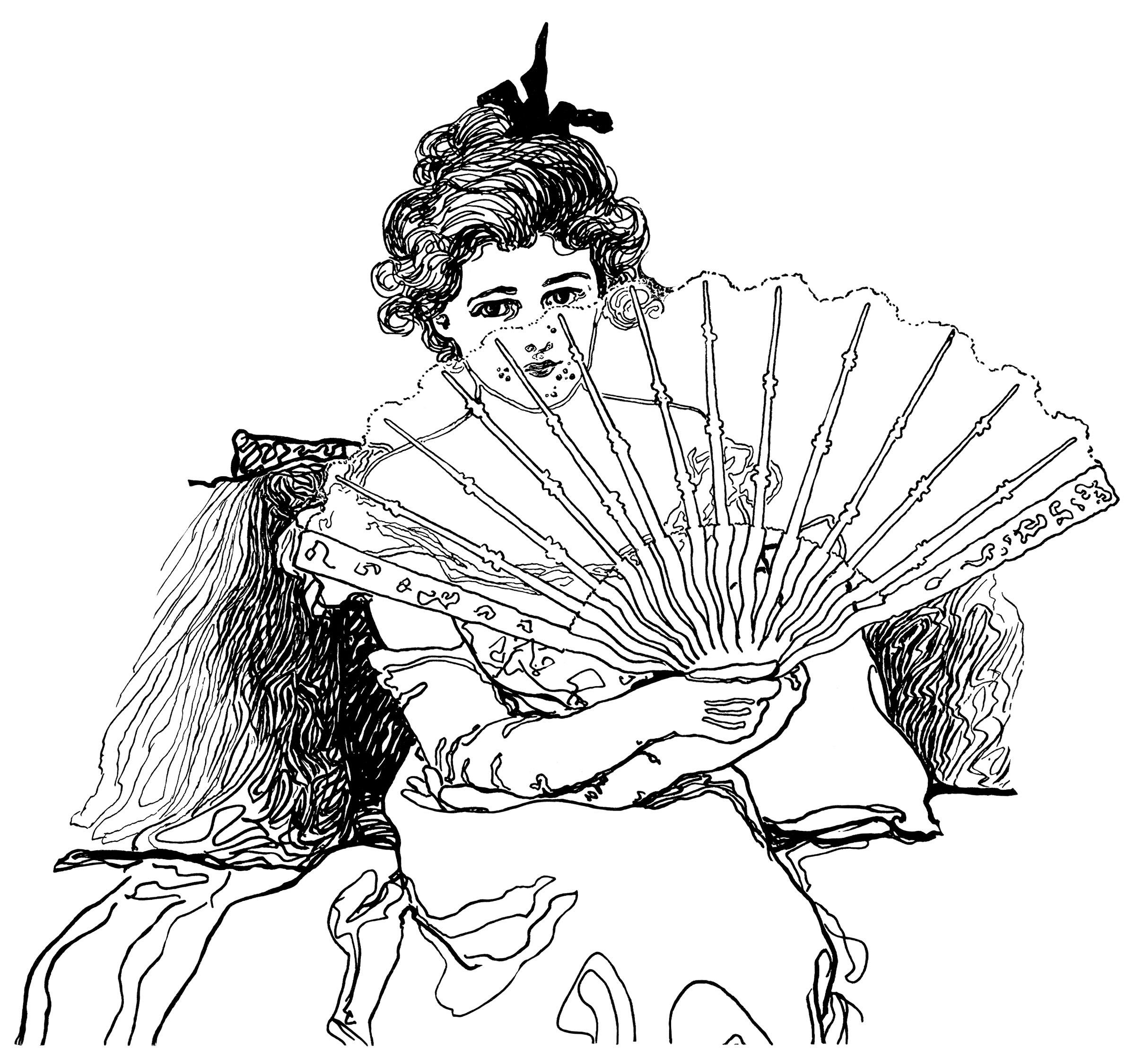 Victorian Lady Holding Fan Free Clip Art