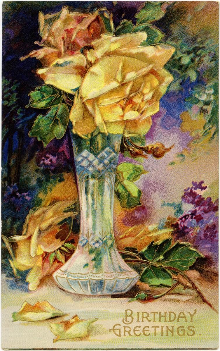 Yellow Rose Birthday Greetings Vintage Image Old