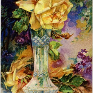 Yellow Rose Birthday Greetings ~ Vintage Image