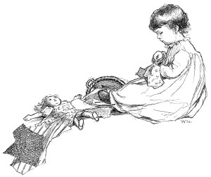 Little Penelope's Sewing, black and white clip art, young girl sewing illustration, Anna M. Pratt poem, vintage sewing graphics