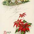 Christmas vintage postcard, poinsettia illustration, country winter scene, old fashioned Christmas card, free holiday graphic