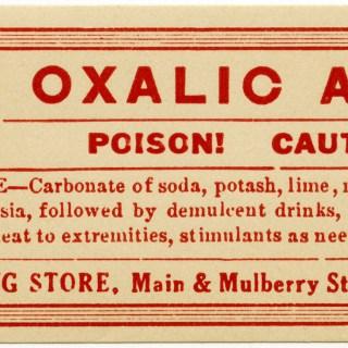 Oxalic Acid Poison Label ~ Free Vintage Clip Art