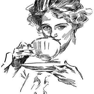Lady Drinking Tea ~ Free Vintage Clip Art