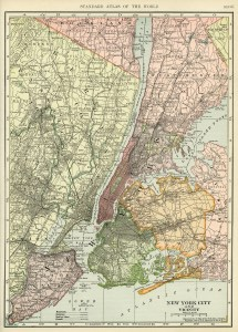 C. S. Hammond map, antique map, New York City map, history geography New York, free vintage map