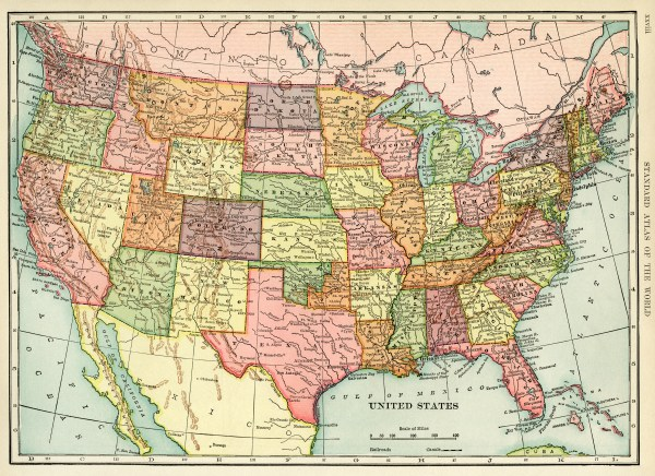 Antique Map of United States Free Image Old Design