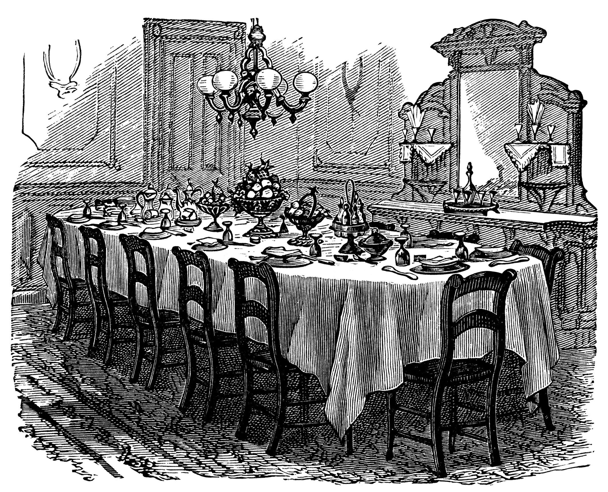 Victorian table setting free clip art old design shop blog for Edwardian table setting