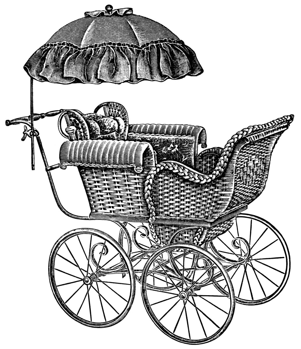 baby carriages free vintage clip