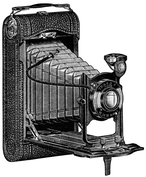 Vintage Camera Clip Art Black and White